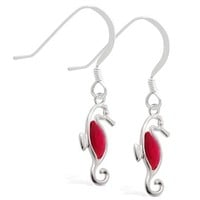 Sterling Silver Earrings with dangling Ruby jeweled seahorse
