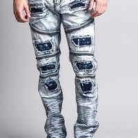 Men's Acid Washed Zippered Denim Patched Jeans