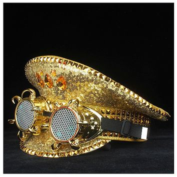 Mermaid Gold Sequin Military Hat with Screen Goggles