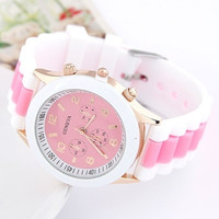 Pink Round Dial Colorful Analog Digital Watch With Silicone Strap Pink Women Fashion Cute Watch (Color: Pink) = 1956927556