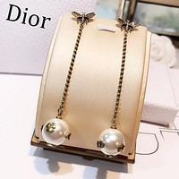 DIOR Fashion Women Retro Bee Pearl Pendant Earrings Jewelry Accessories