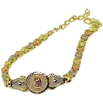 Virgin Guadalupe Id  Tricolor Bracelet 18K of Gold Plated