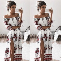 Women Ladies Clothing Dress Chiffon Floral Long Sleeve Party Flower Casual Long Maxi Dresses Women Summer Sundress