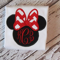 Minnie Mouse adult t-shirt SHORT SLEEVE, red chevron bow on a black Minnie Mouse silhouette , Monogram embroidered , Disney outfit