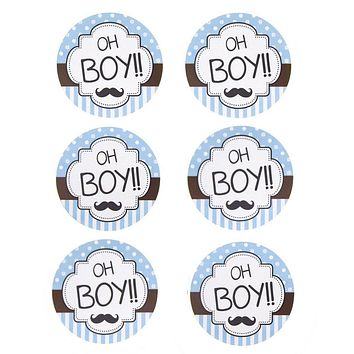 Oh Boy Seal Paper Stickers, Light Blue, 2-Inch, 12-Count