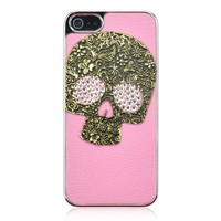 3D Metal Skull Mixed Bling Crystal Rhinestone Leather Case For iPhone 5