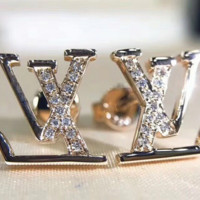 LV inlaid zircon silver inlaid diamond earrings with diamond stud earrings
