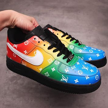 Inseva Louis Vuitton LV x Nike Air Force 1 low-top leather graffiti print casual shoes