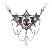 Alchemy Gothic Elizabethan Court Pink Heart Pendant Necklace