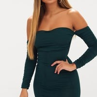 Emerald Green Ruched Front Ruched Arm Bardot Bodycon Dress