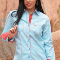 Cruel Girl Women's Long Sleeve Patterned Button Down Shirt - Blue