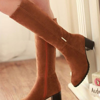 Over The Knee Square Med High Heels Fur Snow Boots
