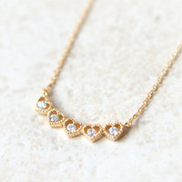 5 Hearts Necklace / Choose your color / gold, silver and pink gold