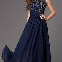 Floor Length Sleeveless Prom Dress