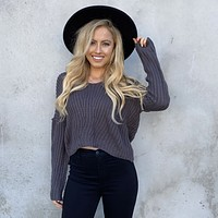 Cuddle Up To Me Charcoal Grey Knit Sweater