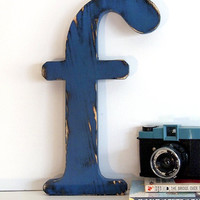 Lowercase Letter f (Pictured in Navy) Pine Wood Sign Wall Decor Rustic Americana French Country Chic