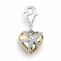 0.25 Cttw Diamonds Puffed Heart Star Fish Charm Rhodium Plated Sterling Silver