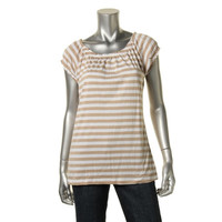 Chelsea & Theodore Womens Striped Cap Sleeves Pullover Top