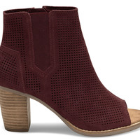 OXBLOOD PERFORATED SUEDE WOMEN'S MAJORCA PEEP-TOE BOOTIES