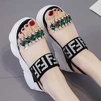 FENDI Summer Popular Women Casual Diamond Thick Sole Sandal Slipper Beach Shoes Black/Silvery