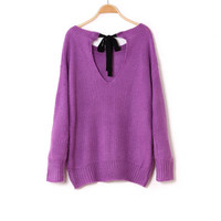 Butterfly Bow Tied Hollow Back Knitted Batwing Loose Style Sweater