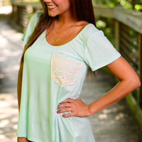 Crochet Pocket Tee, Mint