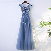 Blue Abiye High Quality A-line Prom Dress Scoop Neck Tulle Flowers Evening Dress
