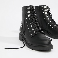 Miss Selfridge lace up military boots with stud detail in black at asos.com