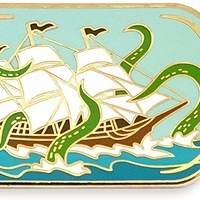 Ship In A Bottle Attacked by Sea Monster Enamel Lapel Pin