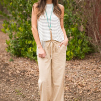 See You On The Dunes Linen Pants, Khaki