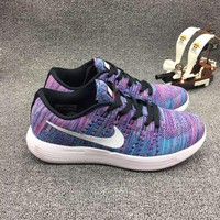 """Nike LunarEpic Low Flyknit"" Unisex Sport Casual Flywire Multicolor Sneakers Couple Running Shoes"