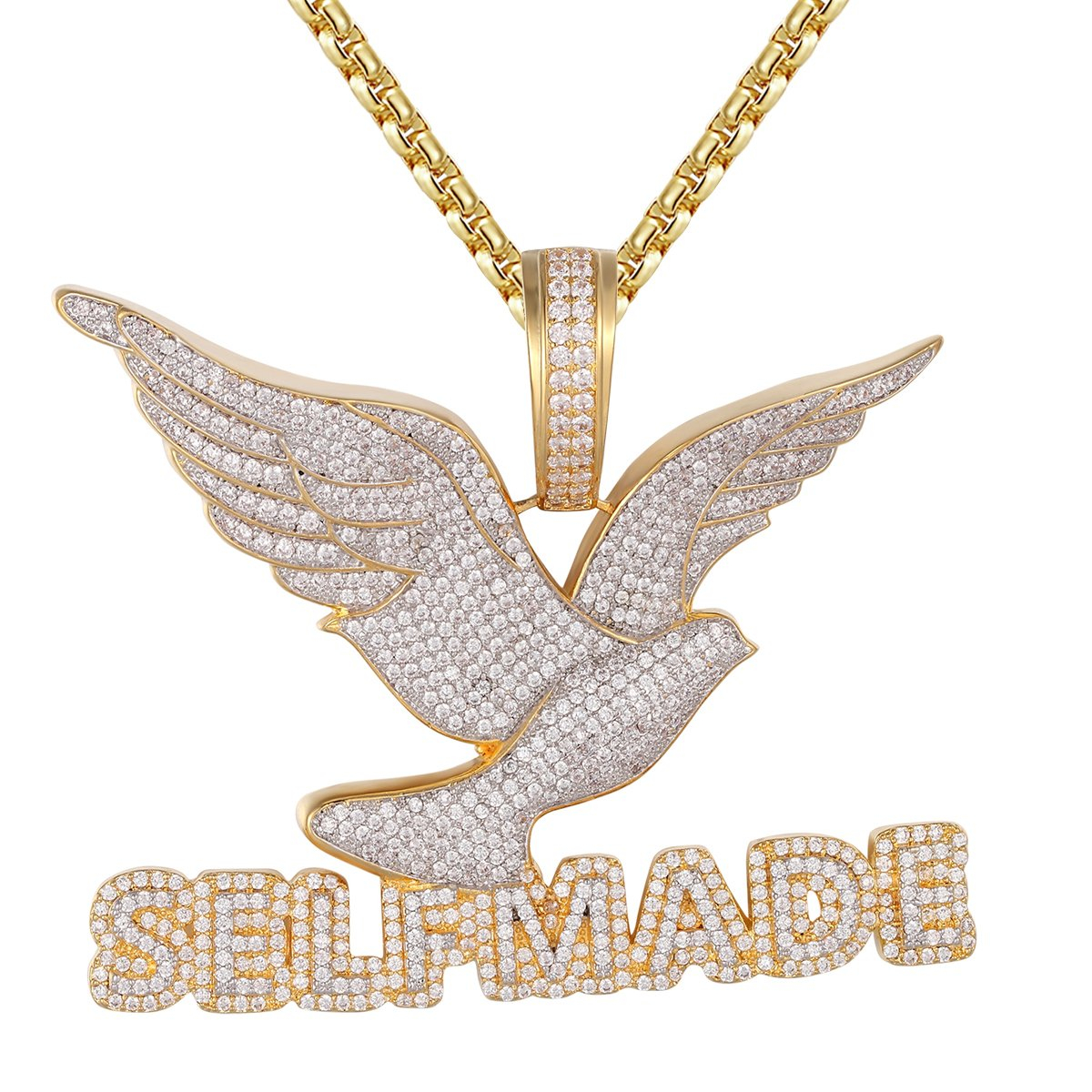 Image of Self Made Flying Bird Peace .925 Silver Bling Rapper Pendant Chain