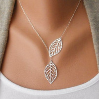 Beautiful silver leaves necklace chain necklace women necklace fashion necklace with silver leaves and chain pendant necklace XL-2518