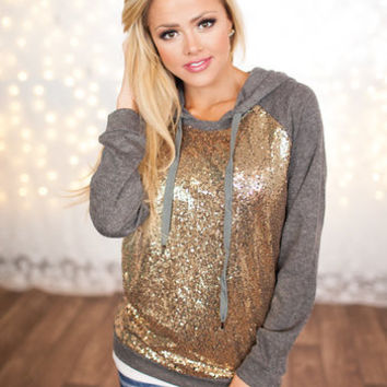 Sequins Charcoal Gray Hoodie