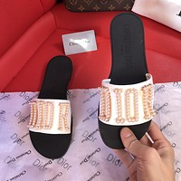 Dior CD fashion ladies sandals pearl letters logo slippers
