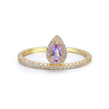 14K Yellow Gold Natural Purple Amethyst Engagement Ring