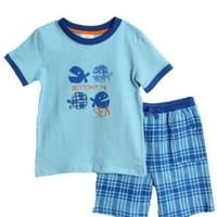 NWT Absorba Toddler Boys 2 pc blue plaid knit shorts set