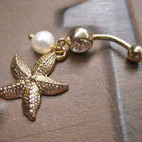 Gold Starfish Belly Button Jewelry- Ring Pearl Sea Shell Star Fish Sand Dollar Navel Piercing Charm Seashell Dangle Bar Barbell