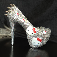 Crystal Hello Kitty High Heels with Silver Spikes by yhasminae