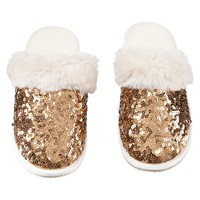 Sparkle Sequin Slippers, Gold