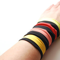 Funky Striped BLACK Wrist Cuff with Yellow and Red Shades Stripes Fashion accessory Women Teens Wrist Tattoo Cover