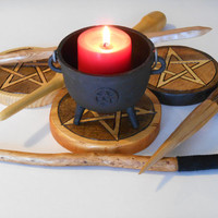 Seeker Set: Wand, Athame, Pentacle. For Beginner Wicca, Wiccans, and Witches