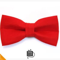 "Pet Bow Tie - ""Big Adventure"" - Red Detachable Bowtie for Cats + Dogs"