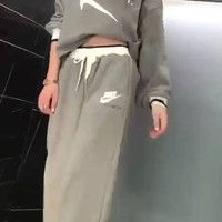 """Nike""Woman's Leisure Fashion Letter Personality Printing  Long Sleeve Elastic Band Trousers Two-Piece Set Casual Wear"