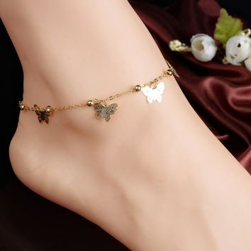 Gift Sexy Ladies New Arrival Cute Stylish Shiny Jewelry Accessory Butterfly Alphabet Anklet [7240956167]