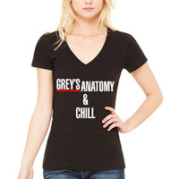 "Grey's Anatomy ""Grey's Anatomy & Chill"" Women's V-Neck T-Shirt"