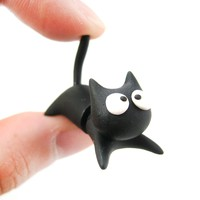 Handmade Black Kitty Cat Animal Fake Gauge Polymer Clay Stud Earring