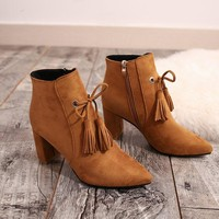 Tassels Pointed Toe Middle Chunky Heel Short Martin Boots