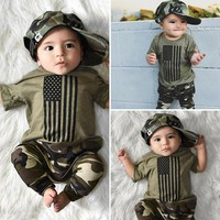 US Newborn Kids Baby Boy Clothes USA Flag Tops T-Shirt Camo Long Pants Outfits