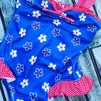Bathing Suit- Vintage Swimsuit- Toddler Bathing Suit- Floral Swim Suit- Girls Clothing- 3T- Bathing Suit for Baby- Vintage for Children